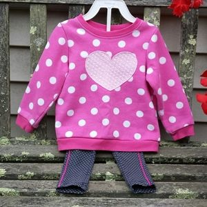 Jumping Beans Heart Sweatshirt & Tea Leggings 18M
